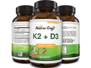 Vitamin D3 with K2 MK7 Supplement - Vitamin D3 5000 IU Capsules and Vitamin K2 for Immune Support Bone Health Heart Health Joint Support Bone Strength and Mood Boost