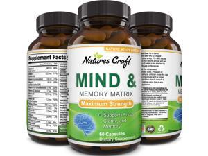 Mind and Memory Enhancement Supplement, Brain booster nootropic pills Improve Focus Concentration Clarity Mental Performance Pure Vitamins Natural Dietary Supplement