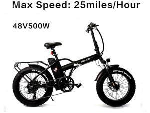 "SOHOO 48V500W10AH 20"" x4.0 Folding Fat Tire Electric Bicycle Mountain E-Bike Removable Battery Foldable Snow Electric Bike"