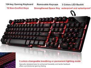 Multi-Function Wired Keyboard, 104 key Led Gaming Keyboard, Three Colors Backlit LED Keyboard for Gaming, Office, waterproof and splashproof, Removable Keycaps, Colorful Rainbow Adjustable Backlight