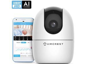 1080P Smart Home WiFi Camera, Baby Monitor, AI Human Detection, Motion-Tracking, Indoor Pet, Dog, Nanny Cam w/ 2-Way Audio, Phone App, Pan/Tilt Wireless IP Camera, Night Vision, ASH21-W White