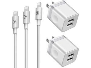 Phone Charger (Pack of 5), BUYAOPA 3ft+6ft+10ft Long Charging Cable and Dual USB Wall Plug Charger Block Cube Compatible with Phone 11/ XS/XR/X 8/7/6/Plus SE/5S/5C, Pad Air Mini Pro
