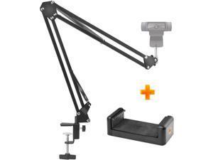 "High Performance Webcam Stand, 28"" Webcam Clamp Mount Adjustable Desktop Suspension Boom Scissor Tripod Stand Built-in 1/4"" Screw Flexible Long Arm Swivel Holder for Webcam (Black)"