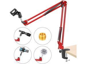 Adjustable Microphone Suspension Boom Scissor Arm Stand, Max Load 1 KG Compact Mic Stand for Radio Broadcasting Studio, Voice-Over Sound Studio, Stages, and TV Stations(Red)