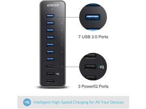 10 Port USB 3.0 Hub, 7 USB 3.0 Ports and 3 PowerIQ Charging Ports , Super Speed 5Gps 60W Data Hub for Macbook, Mac Pro / mini, iMac, XPS, Surface Pro, iPhone 8, 7, 6s Plus, iPad Air 2, Galaxy Series