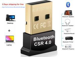Bluetooth Adapter for PC, CSR 4.0 USB Bluetooth Dongle, Wireless Receiver for Laptop PC Bluetooth Receiver/Transfer Gold Plated Support 10/8/7/Vista/XP, Mouse and Keyboard, Headset
