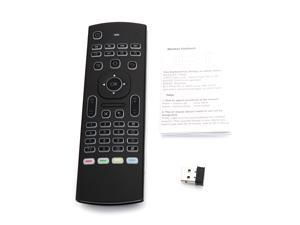 MX3B 2.4GHz Multi-Axis 81 Keys White Backlight Wireless Air Mouse with Receiver Black
