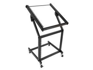 Magace 19U Mixer Studio Rack Stand on Wheels Black