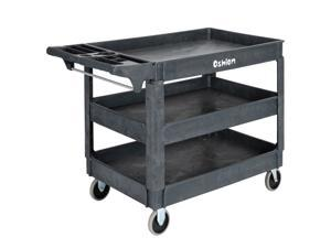 Magace Plastic Service Utility Cart, Support up to 500lbs Capacity, Heavy Duty Tub Storage Cart W/Deep Shelves, Multipurpose Rolling 3-Tier Mobile Storage Organizer, for Warehouse Garage