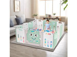 14 Panel Foldable Baby Playpen Kids Safety Fence Play Center Play Yard Playpen