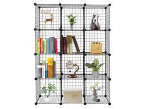 12 Cube Wire Grid Organizer Bookcase Storage Cabinet Wardrobe Closet Multi Use