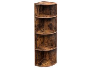 4-Tier Industrial Corner Shelf Unit, Freestanding Display Storage Shelves and Wooden Bookcase, for Kitchen, Living Room, Study Room