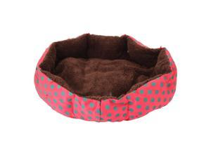 Nice-looking Dot Pattern Octagonal Flannelette & Cotton Pet Bed Rose Red L