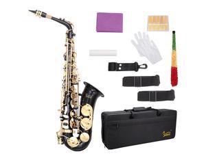 Black Glarry Alto Saxophone  Alto SAX Eb  with  W/ Case 10 Reeds Strap
