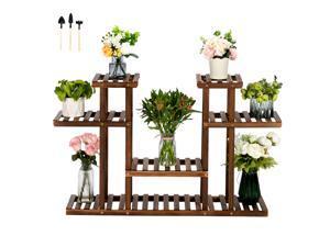 7 Pot Multi Tier Wooden Plant Stand Bonsai Display Flower Shelf Outdoor/Indoor