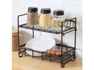 Double Kitchen Rack 2-Tier Kitchen Counter Organizer Spice Rack Storage Rack for Kitchen Seasoning Jars, Tableware and Spice Jars Bathroom Shelf