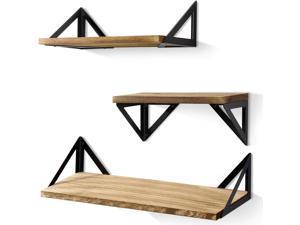 Set of 3 Floating Shelves Wall Mounted, Rustic Wood Wall Shelves  for Bedroom, Bathroom, Living Room, Kitchen,Vintage