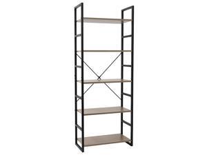5 Tier Bookcase Shelf Storage Organizer Wood and Metal Bookshelf Rack Gray
