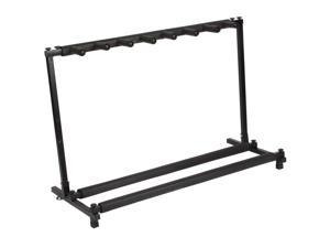 Multi Guitar Stand 7 Holder Foldable Universal Display Rack - Portable Black Guitar Holder.Padding for Classical Acoustic, Electric, Bass Guitar and Guitar Bag/Case