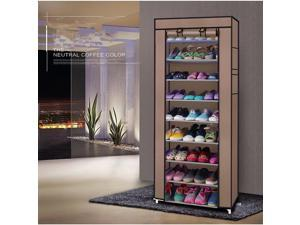 10-Layers 9 Lattices Shoe Rack Shoe Storage Organizer Cabinet Tower with Non-Woven Fabric Cover