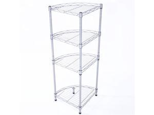 4-Tier Fan-Shaped Carbon Steel Metal Assembly Storage Rack Silver Gray