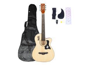 Magace 38in Beginner Acoustic Bass Wood Guitar Starter Kit w/ Bag, Strap, Digital LCD Tuner, Pick, Pickguard, Strings