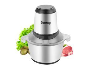 Magace Electric Stainless Steel One-Button Meat Grinder / Mixer,Two Files, With 2L 304 Stainless Steel Cup