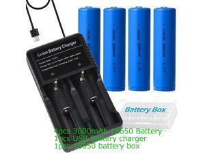 1pcs Battery Charger USB + 4pcs 18650 Battery (66mmx18mm 3000mAh) for Flashight Headlmap Power Tools