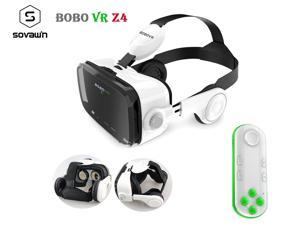 Original BOBOVR Z4 Leather VR Goggles 3D Cardboard Helmet Virtual Reality VR Glasses Headset Stereo BOBO VR With 051 White Remote For 4-6' Mobile Phone