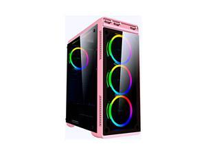 Apevia AURA-S-PK Mid Tower Gaming Case with 2 x Full-Size Tempered Glass Panel, Top USB3.0/USB2.0/Audio Ports, 4 x Spectra RGB Fans, Pink Frame
