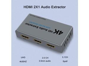 4k Audio Adapter HDMI Audio Extractor HDMI 2X1 Converter SPDIF RCA 3.5mm Jack Output with dc cable