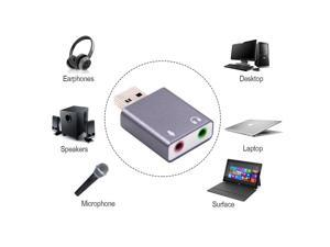 7.1 External USB Sound Card Stereo Mic Speaker Headset Audio Jack 3.5mm Cable Adapter For Mac Computer Linux
