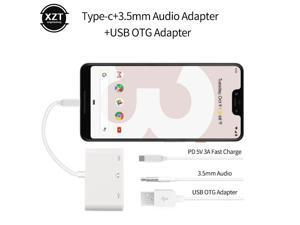 Type-C to 3.5mm Audio Cable + USB OTG Adapter+ Type-C 5V3A Fast Charging Cable Converter For Xiaomi LG HuaWei SamSung Adapters
