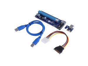 PCI-E 1X to 16X PCIe to PCI Express Extender Adapter Riser Card SATA USB3.0 Data Power Cable Kit For Bitcoin Mining Miner