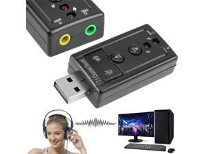 7.1 Virtual USB Sound Card 3.5mm AUX Headphone Microphone External Audio Adapter Stereo Headset Supports 3D Sound