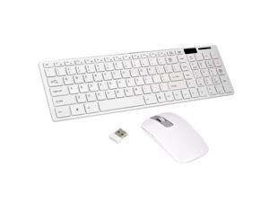 Wireless Slim White Keyboard + Wireless Optical Mouse Set for PC and Laptop