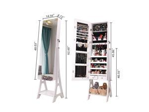 Large Full Mirror Jewelry Cabinet Armoire Box Dressing Mirror w/ Lock 2 Drawers