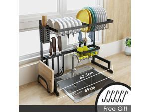 Over Sink Dish Drying Rack 2-Tier Stainless Steel Kitchen Cutlery Holder Shelf