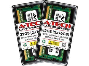 A-Tech 32GB (2x16GB) DDR3 / DDR3L 1600MHz SODIMM PC3-12800 2Rx8 1.35V CL11 Non-ECC Unbuffered 204-Pin SO-DIMM Notebook Laptop RAM Memory Upgrade Kit