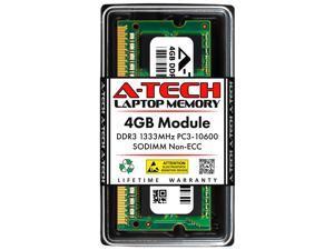 A-Tech 4GB DDR3 1333MHz SODIMM PC3-10600 204-Pin CL9 Non-ECC Unbuffered Notebook Laptop RAM Memory Upgrade Module