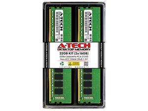 A-Tech 32GB (2x16GB) DDR4 2666MHz DIMM PC4-21300 UDIMM Non-ECC Unbuffered CL19 1.2V 288-Pin Desktop Computer RAM Memory Upgrade Kit