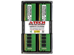 A-Tech 64GB (2x32GB) DDR4 2666MHz DIMM PC4-21300 UDIMM Non-ECC Unbuffered CL19 2Rx8 1.2V 288-Pin Dual Rank Desktop Computer PC RAM Memory Upgrade Kit