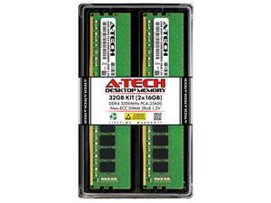 A-Tech 32GB (2x16GB) DDR4 3200MHz DIMM PC4-25600 UDIMM Non-ECC Unbuffered CL22 1.2V 288-Pin Desktop Computer RAM Memory Upgrade Kit