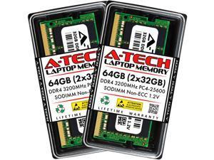 A-Tech 64GB (2x32GB) DDR4 3200MHz SODIMM PC4-25600 Non-ECC Unbuffered CL22 1.2V 260-Pin SO-DIMM Laptop Notebook Computer RAM Memory Upgrade Kit