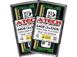 A-Tech 64GB (2x32GB) DDR4 2666MHz SODIMM PC4-21300 2Rx8 Non-ECC Unbuffered CL19 1.2V Dual Rank 260-Pin SO-DIMM Laptop Notebook Computer RAM Memory Upgrade Kit