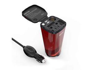 BESTEK 200W Car Power Inverter with 2 AC Outlets and 4.5A Dual USB Charging Ports Car Adapter with Car Cigarette Lighter Socket(Cola Red)