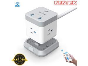 BESTEK Smart WiFi Power Strip, Remote Control Vertical Cube Mountable Power Outlet Extender with 3 Outlets, 2 USB Ports, 5-Foot Extension Cord and Detachable Base for Easy Mounting