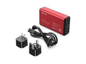 [Pure Sine Wave] BESTEK Universal Travel Adapter Voltage Converter for Hair Straightener/Curler, Step Down 100-240V to 110V Power Converter with Fast USB