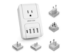 BESTEK International Travel Adapter, 3000W Universal Travel Adapter for Hair Dryer, Curling Iron Travel Charger Adapter with Worldwide Wall Plugs for US, UK, AU, EU and Asia, PD 3.0