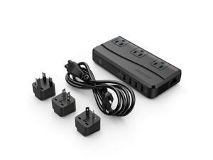 BESTEK Power Step Down 220V to 110V Voltage Converter 4-Port USB Charging EU/UK/AU/US Universal Plug Travel Adapter, Thinner Design QC3.0